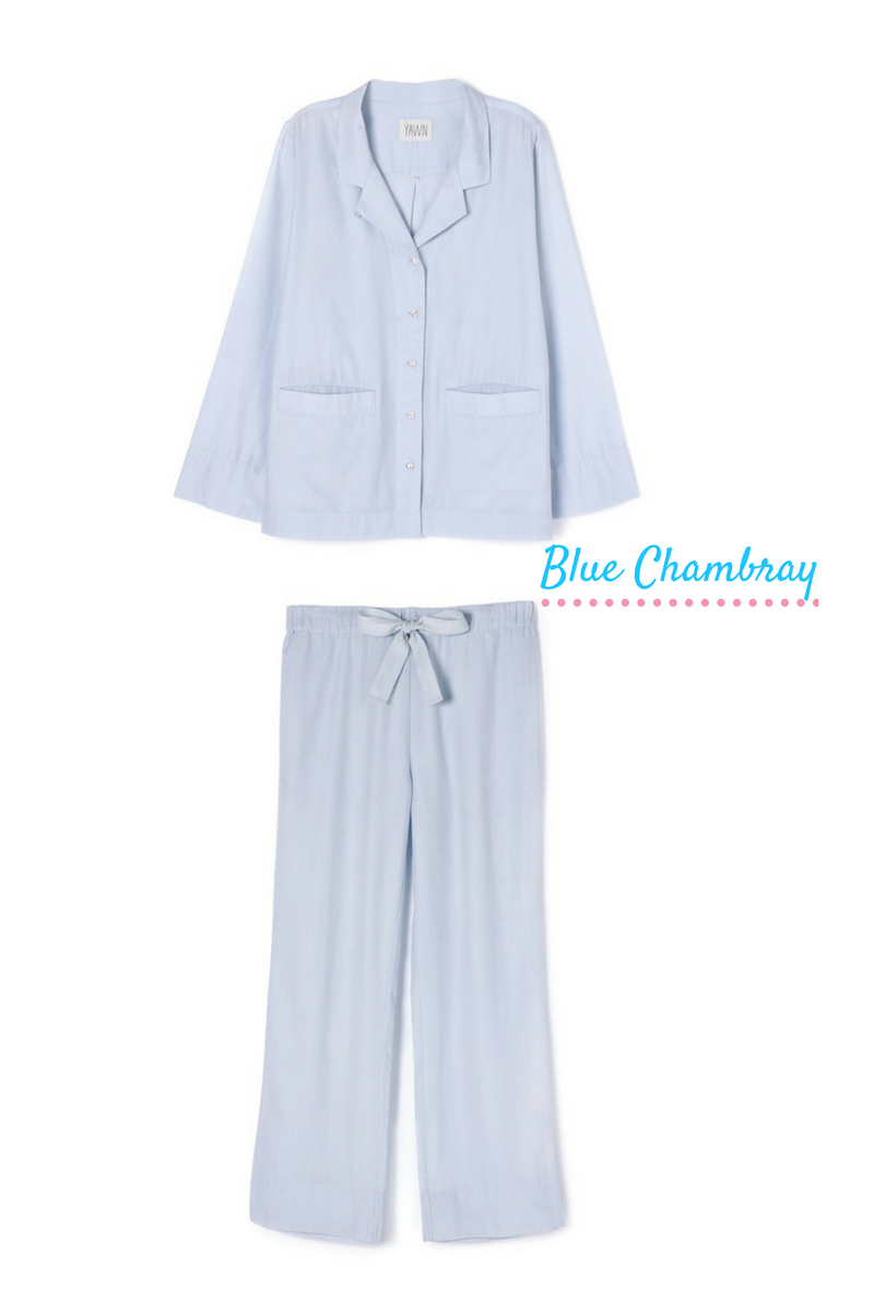 YAWN Blue Chambray luxury sleepwear